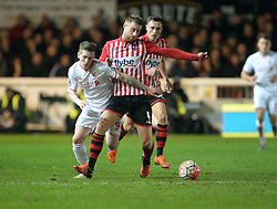 Ryan Kent of Liverpool battles for the ball with David Noble of Exeter City - Mandatory byline: Alex James/JMP - 08/01/2016 - FOOTBALL - St James Park - Exeter, England - Exeter City v Liverpool - FA Cup Third Round