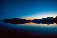 Twilight, Nakwasina Sound,  Inside Passage, Southeast Alaska USA.