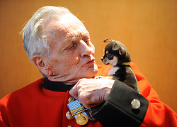 ©London News pictures. 24.02.2011. Sachk Shailes (correct) a Chelsea Pensioner meets one of Battersea Dog and Cats Home's smallest residents, Betty the Chihuahua. Starting in March, the Chelsea Pensioners will become well acquainted with the dogs and cats at the charity at Battersea Dogs and Cats home, when Battersea walks its dogs across the Thames River to spend time at the Royal Hospital. In turn, the charity will invite the veteran British Army soldiers in to interact with the many animals it takes in every year. Picture Credit should read Stephen Simpson/LNP