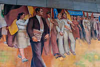 A GDR (East German) mural on the Ministry of Finance Building (during Nazi times it was the Ministry of Aviation), Mitte, Berlin, Germany