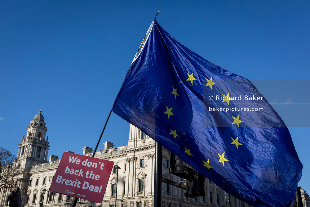 A pro-EU Brexit protest flag opposite the UK Foreign Office in Westminster, on 28th January 2019, in London, England.