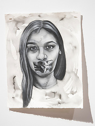 April 26, 2018 - Tampa, Florida, U.S. - A charcoal portrait of Parkland victim Jamie Guttenberg, by Symone Hall in the BFA show at the Scarfone/Hartley Gallery at the University of Tampa, on April 26, 2018 in Tampa, Fla. (Credit Image: © Monica Herndon/Tampa Bay Times via ZUMA Wire)