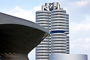 Modern architecture at the BMW Headquarters office blocks, showroom, museum and customer collection centre in Munich, Bavaria, Germany