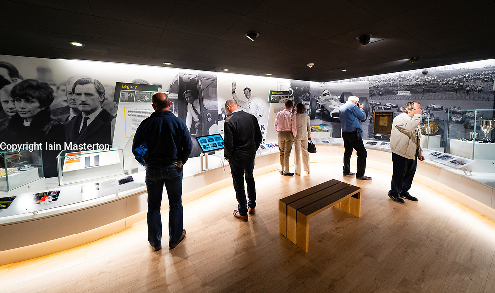 Duns, Scotland, UK. 29 August 2019. Official opening of the new Jim Clark Motorsport Museum in Duns, Berwickshire, UK. The museum was opened by Sir Jackie Stewart and is operated but the Jim Clark trust.  Pictured. Interior of new museum. Iain Masterton/Alamy Live News.