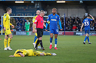AFC Wimbledon attacker Julien Lamy (17) about to get yellow card during the EFL Sky Bet League 1 match between AFC Wimbledon and Fleetwood Town at the Cherry Red Records Stadium, Kingston, England on 8 February 2020.