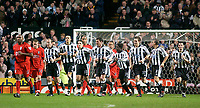 Photo. Glyn Thomas, Digitalsport<br /> Newcastle United v Fulham. FA Barclaycard Premiership. <br /> St James's Park, Newcastle. 19/01/2004.<br /> Newcastle players are delighted to have taken the lead in the first few minutes thanks to Andy O'Brien but Fulham players are less impressed.