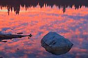 Clouds at sunrise reflected in Patricia Lake<br /> Jasper National Park<br /> Alberta<br /> Canada