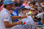 Rickie Fowler (USA) signs autographs for kids following day 3 of the Valero Texas Open, at the TPC San Antonio Oaks Course, San Antonio, Texas, USA. 4/6/2019.<br /> Picture: Golffile | Ken Murray<br /> <br /> <br /> All photo usage must carry mandatory copyright credit (© Golffile | Ken Murray)
