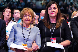 © Licensed to London News Pictures. 26/09/2021. Brighton, UK. MARGARET HODGE and RUTH SMEETH . Delegates in the conference hall during a debate on new rules designed to counter anti-Semitism within the Labour Party. The second day of the 2021 Labour Party Conference , which is taking place at the Brighton Centre . Photo credit: Joel Goodman/LNP