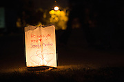 Luminarias outline the Milpitas Sports Center track during Relay For Life on June 23, 2012, in remembrance of those who lost the battle with cancer.  Photo by Stan Olszewski/SOSKIphoto.