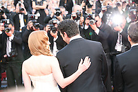 David Schwimmer and Jessica Chastain at the gala screening Madagascar 3: Europe's Most Wanted at the 65th Cannes Film Festival. On Friday 18th May 2012 in Cannes Film Festival, France.