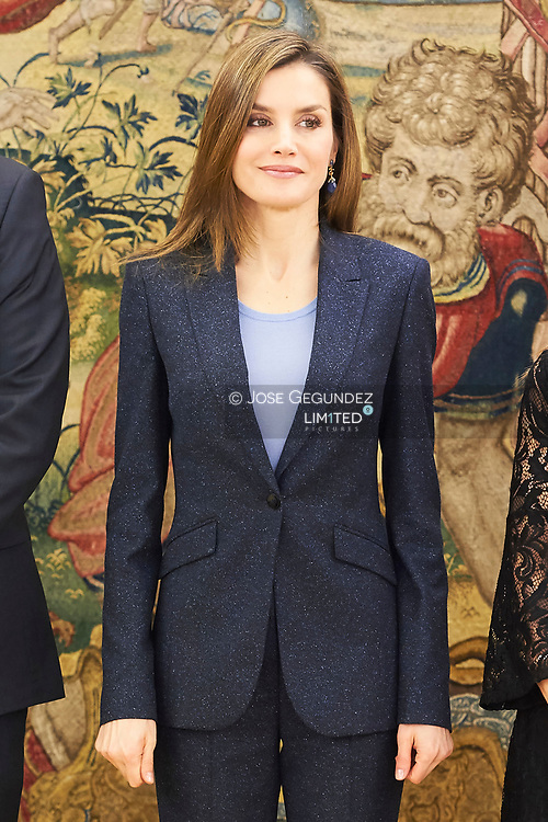 Queen Letizia of Spain attends an Audience to a representation of members and collaborators of the ALMA Association against the Violence of Gender at Zarzuela Palace on March 16, 2017 in Madrid