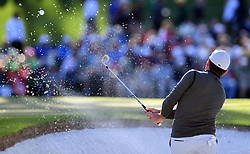 Francesco Molinari hits from a bunker on the 15th hole during the second round of the Masters Tournament at Augusta National Golf Club in Augusta, Ga., on Friday, April 7, 2017. (Photo by Brant Sanderlin/Atlanta Journal-Constitution/TNS)  *** Please Use Credit from Credit Field ***