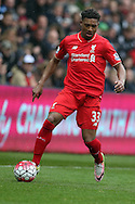 Jordan Ibe of Liverpool in action.Barclays Premier league match, Swansea city v Liverpool  at the Liberty Stadium in Swansea, South Wales on Sunday 1st May 2016.<br /> pic by  Andrew Orchard, Andrew Orchard sports photography.