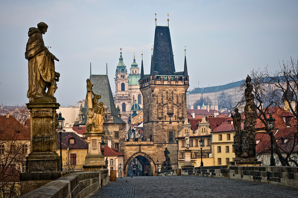 View of the Lesser Town Bridge Towers of Charles Bridge in Prague (Karlúv Most) the Czech Republic. This bridge is the oldest in the city and a very popular tourist attraction.
