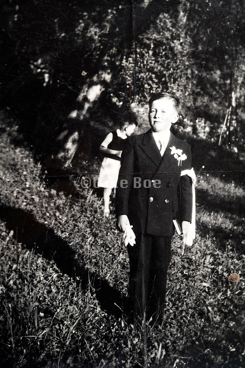 boy during his first communion celebration France 1948