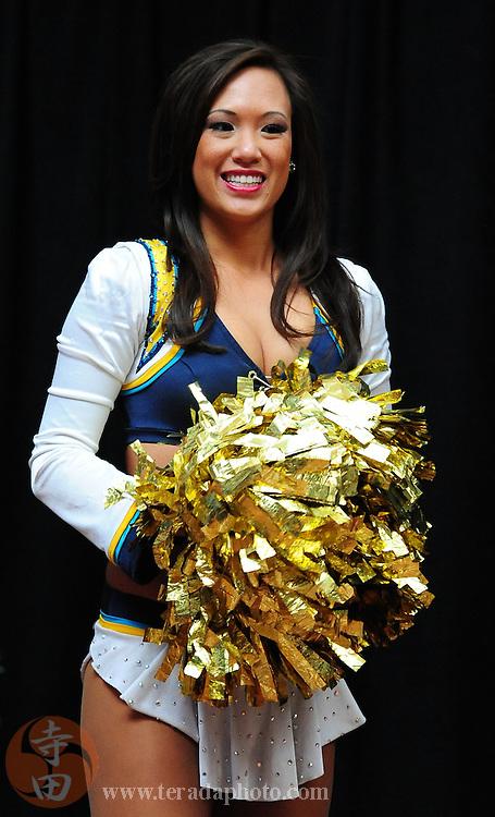January 28, 2011; Honolulu, HI, USA; San Diego Chargers cheerleader Tiffany Chen performs during a 2011 Pro Bowl cheerleader appearance at the Ala Moana Center. Mandatory Credit: Kyle Terada-Terada Photo