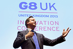 © Licensed to London News Pictures. 14/06/2013. London, UK British Prime Minister David Cameron attends the G8 Innovation Conference at the Siemens Crystal Building in London today 14th June 2013. As part of UK's G8 Presidency, the G8 Innovation Conference brings together 300 leading international entrepreneurs, researchers, scientists, designers and policy makers. Photo credit : Stephen Simpson/LNP