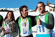 Alina Buchschacher, André Roger Weiss und Nöldi Forrer, Gewinner vom «Renzo's Schneeplausch» vom 23. Januar 2016 in Vella, Gemeinde Lumnezia.