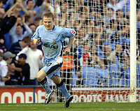 Photo. Glyn Thomas. <br /> Coventry City v Brighton and Hove Albion. <br /> Coca Cola Championship. 02/04/2005.<br /> Coventry's Gary McSheffrey wheels away in delight after scoring his penalty past Brighton keeper Alan Blaney.