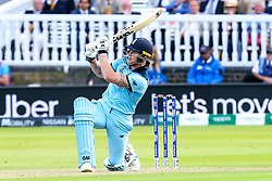 Ben Stokes of England hits a six - Mandatory by-line: Robbie Stephenson/JMP - 14/07/2019 - CRICKET - Lords - London, England - England v New Zealand - ICC Cricket World Cup 2019 - Final