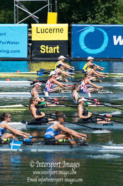 Lucerne, SWITZERLAND. Heat of the Women's Double Sculls IRL W2X Bow Helen WALSHE and Lisa DILLEN,  2015 FISA World Cup III, Lake Rotsee, Friday  10/07/2015   [Mandatory Credit. Peter SPURRIER/Intersport Images.