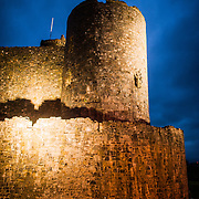 One of the corner towers of Harlech Castle in Harlech, Gwynedd, on the northwest coast of Wales next to the Irish Sea. The castle was built by Edward I in the closing decades of the 13th century as one of several castles designed to consolidate his conquest of Wales.