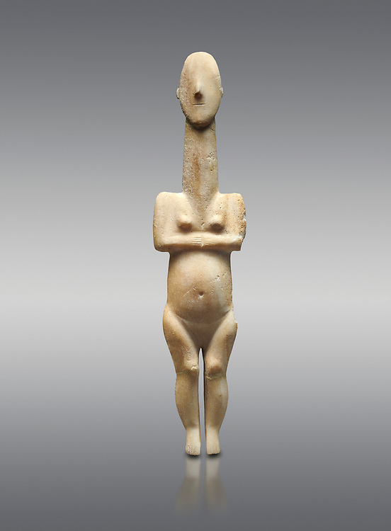 Cycladic statue figurine of the naturalistic 'Plastira' type of Paros from Glypha cemetery, grave 23, Cat no 4762. Early Cycladic Period I (Grotta-Pelos Phase 3200-2800 BC). National Archaeological Museum, Athens. <br /> <br /> This type of Cycladic figurine stand with feet lat to the ground with detailed facial features and ears to make a more realistic statue. .<br /> <br /> If you prefer to buy from our ALAMY PHOTO LIBRARY  Collection visit : https://www.alamy.com/portfolio/paul-williams-funkystock/cycladic-art-artefacts.html Type into the LOWER SEARCH WITHIN GALLERY box to refine search by adding background colour, place, museum etc<br /> <br /> Visit our CYCLADIC CIVILISATIONS PHOTO COLLECTIONS for more photos to download or buy as wall art prints https://funkystock.photoshelter.com/gallery-collection/Cycladic-civilisation-Ancient-Greek-Artefacts-art-Photos-Pictures-Images/C0000CmevVvnC.XU