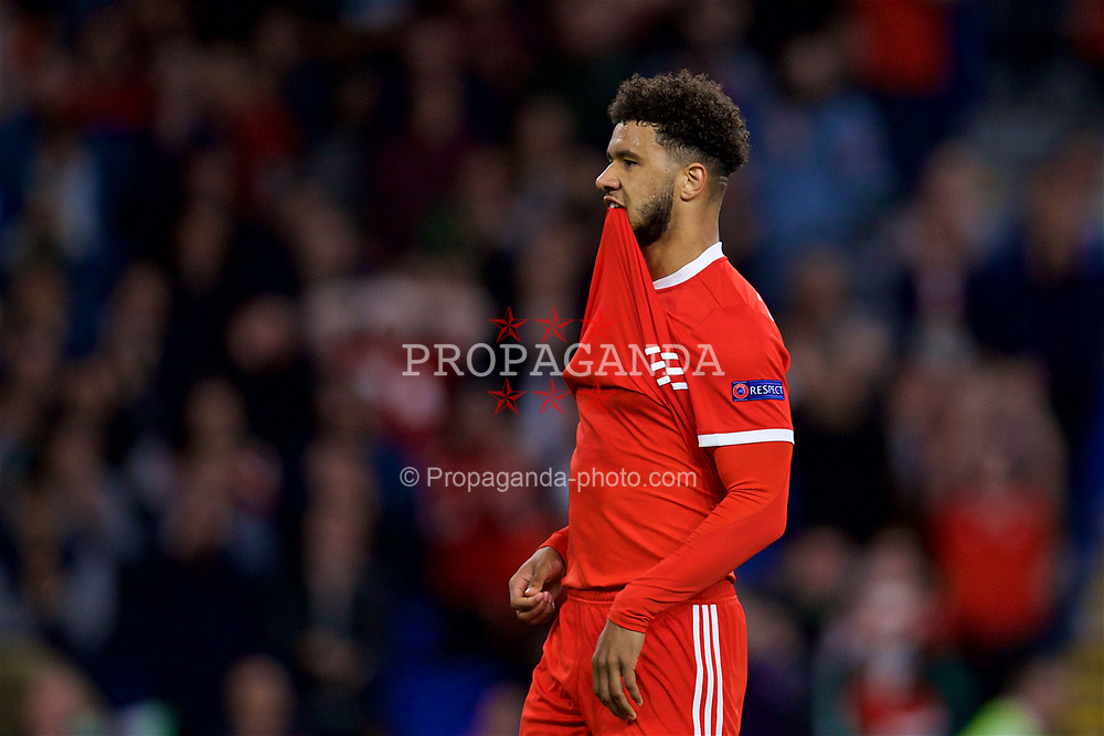 CARDIFF, WALES - Thursday, September 6, 2018: Wales' substitute Tyler Roberts  looks dejected after missing a chance during the UEFA Nations League Group Stage League B Group 4 match between Wales and Republic of Ireland at the Cardiff City Stadium. (Pic by David Rawcliffe/Propaganda)