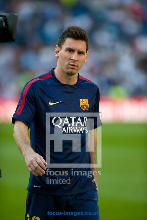 Leo Messi of FC Barcelona during the La Liga match at the Estadio Santiago Bernabeu, Madrid<br /> Picture by Marcos Calvo Mesa/Focus Images Ltd +34 654142934<br /> 25/10/2014