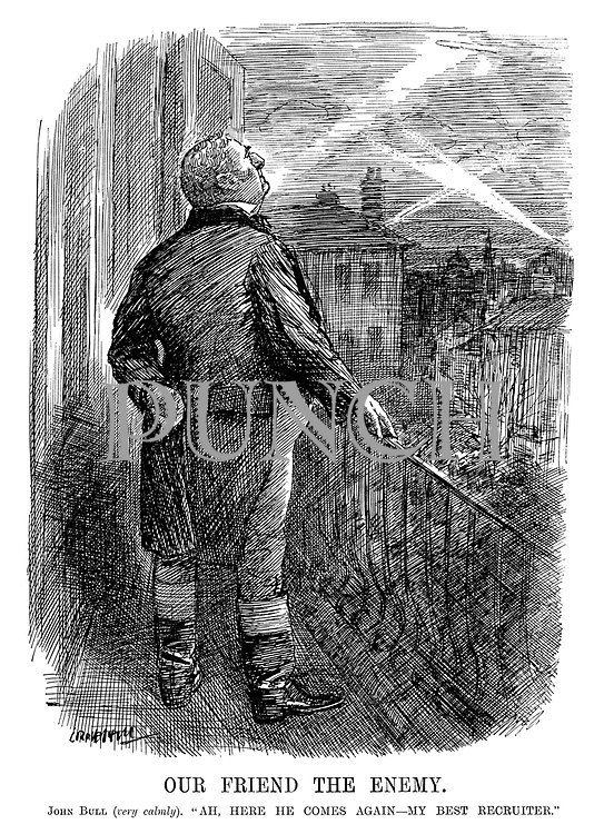 """Our Friend The Enemy. John Bull (very calmly). """"Ah here he comes again - my best recruiter."""" (John Bull looks up to the sky at night as search lights look for zeppelins above London during WW1)"""