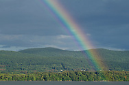 Newburgh, New York - A rainbow forms over the Hudson River and Hudson Highlands after a brief summer shower on Aug. 14, 2014.