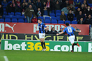 Barnsley's Stephen Foster (6) celebrates after he scores the equaliser to make it 1-1.  Npower championship, Cardiff city v Barnsley at the Cardiff city stadium in Cardiff, South Wales on Tuesday 9th April 2013. pic by Andrew Orchard,  Andrew Orchard sports photography,