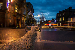 Pictured: All is quiet in Lockerbie in the early evening as it would have been 29 years ago.<br /> <br /> On 21 December 29 years ago Pan-Am 103,Maid of the Sea, was blown up over the small town of Lockerbie with the loss of all 243 passengers and 16 crew, in what became known as the Lockerbie bombing. Large sections of the aircraft crashed onto residential areas of Lockerbie. The fuselage consisting of the main wing box structure landed in Sherwood Crescent, creating a large impact crater where three homes previously stood,  killing 11 more local people on the ground. Following a three-year joint investigation by Dumfries and Galloway Constabulary, the smallest mainland force in the UK, and the US Federal Bureau of Investigation (FBI), arrest warrants were issued for two Libyan nationals in November 1991<br /> <br /> Ger Harley | EEm 20 December 2017
