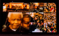 46664,  is a series of AIDS charity concerts played in honour of Nelson Mandela by South African musicians in the 2000s. Video images of former South African President Nelson Mandela, Apartheid Museum, Johannesburg, South Africa.