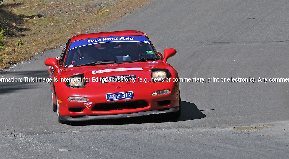 312 Phillip Blunden & Thomas Blunden..1998 Mazda RX7.Day 1.Targa Wrest Point 2010.Southern Tasmania.30th of January 2010.(C) Joel Strickland Photographics.Use information: This image is intended for Editorial use only (e.g. news or commentary, print or electronic). Any commercial or promotional use requires additional clearance.