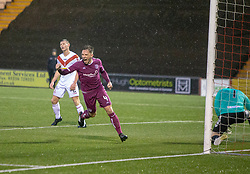 Arbroath's Ricky Little scoring their first goal. half time : Airdrie0  v 1 Arbroath, Scottish Football League Division One played 15/12/2018 at Airdrie's Excelsior stadium.