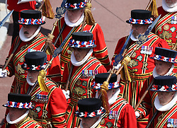 The Yeomen Warders of Her Majesty's Royal Palace during the annual Order of the Garter Service at St George's Chapel, Windsor Castle.