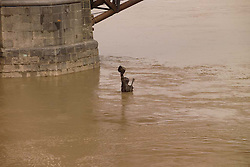 """Captains Return"" Statue Underwater, Saint Louis MO, 100 Year Flood on the Mississippi River 19 March 2008."