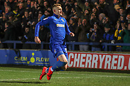AFC Wimbledon striker Joe Pigott (39) celebrating after scoring goal to make it 1-0 during the EFL Sky Bet League 1 match between AFC Wimbledon and Peterborough United at the Cherry Red Records Stadium, Kingston, England on 12 March 2019.