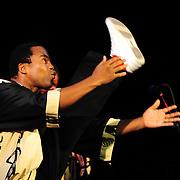 Ladysmith Black Mambazo member Thulani Shabalala high kicking at The Music Hall, Portsmouth, NH