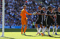 Football - 2018 / 2019 Premier League - Brighton and Hove Albion vs. Fulham<br /> <br /> Aleksandar Mitrovic of Fulham congratulates Marcus Bettinelli of Fulham after the keeper had saved a penalty at The Amex Stadium Brighton <br /> <br /> COLORSPORT/SHAUN BOGGUST