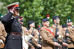 © Licensed to London News Pictures. 30/06/2013. London, UK. An officer of the Royal Marine Reserve salutes as Territorial soldiers of the London Regiment present arms in Southwark, London, today (30/06/2013) as part of Armed Forces Day celebrations held across the country during the weekend. Units, including City of London Field Hospital Volunteers, The Royal Marines Reserve (City of London), RMR London, The London Irish Rifles: 'D' Company and The London Regiment, all units with connections to the Southwark, were today presented with the freedom of the borough as part of Armed Forces Day celebrations. Photo credit: Matt Cetti-Roberts/LNP