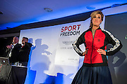 Julia Immonen, the charity organiser auctioning a Naughty Boy jacket - UK charity, Sport for Freedom (SFF), marks Anti-Slavery Day 2015 by hosting a charity Gala Dinner, supported by Aston Martin, on Thursday 15th October at Stamford Bridge, home of Chelsea Football Club. This inaugural event brought together people from the world of sport, entertainment, media, and business to unite behind a promise to tackle the issue of modern day human trafficking and slavery.  <br /> Hosted by Sky presenters Sarah-Jane Mee and Jim White, the Sport for Freedom Gala Dinner includes guests such as jockey AP McCoy OBE; Denise Lewis, former British Olympic Gold Medal winner; BBC Strictly star, Brendan Cole; Al Bangura, former Watford FC player and Sport for Freedom Ambassador who was trafficked from Africa to the UK at the age of just 14yrs old; Made in Chelsea star, Ollie Proudlock; ITV weather presenter, Lucy Verasamy; Sky Sports F1 presenter and SFF Ambassador, Natalie Pinkham; Premier League footballers Ryan Bertrand of Southampton FC and Troy Deeney of Watford FC and champion boxer, Anthony Joshua; and The UK's first independent Anti Slavery Commissioner, Kevin Hyland OBE, who highlighted the issues of modern day slavery that face the UK and world today. <br /> The evening concluded with chart topping music from 'Naughty Boy'. <br /> Sport for Freedom are also joining forces with the Premier League Academies for an international  'Football for Freedom' tournament with their U16's players that will also involve educating those taking part about the issues surrounding modern day slavery. The final will take place at Liverpool FC's Academy on Anti-Slavery Day, 18th October.