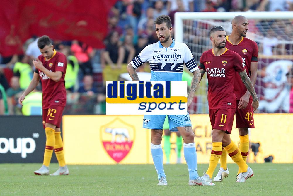 Delusione Francesco Acerbi Lazio<br />Dejection Lazio<br />Roma 28-09-2018 Stadio Olimpico Football Calcio Serie A 2018/2019 AS Roma - Lazio Foto Luca Pagliaricci / Insidefoto