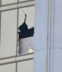 October 3,2017. Las Vegas, Nevada, U.S. - One of two windows that were smash open by the suspect at the Mandalay Bay after Sundays mass shooting. The latest on victims as of Tuesday is still 59 dead, 527 injured last reported Monday night. The shooting happen during day 3 of the Route 91 Harvest Festival. (Credit Image: © Gene Blevins via ZUMA Wire)