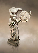 Roman statue of Aphrodite holding a shield. Marble. Perge. 2nd century AD . Antalya Archaeology Museum; Turkey. Against a warm art background. .<br /> <br /> If you prefer to buy from our ALAMY STOCK LIBRARY page at https://www.alamy.com/portfolio/paul-williams-funkystock/greco-roman-sculptures.html . Type -    Antalya     - into LOWER SEARCH WITHIN GALLERY box - Refine search by adding a subject, place, background colour, museum etc.<br /> <br /> Visit our ROMAN WORLD PHOTO COLLECTIONS for more photos to download or buy as wall art prints https://funkystock.photoshelter.com/gallery-collection/The-Romans-Art-Artefacts-Antiquities-Historic-Sites-Pictures-Images/C0000r2uLJJo9_s0