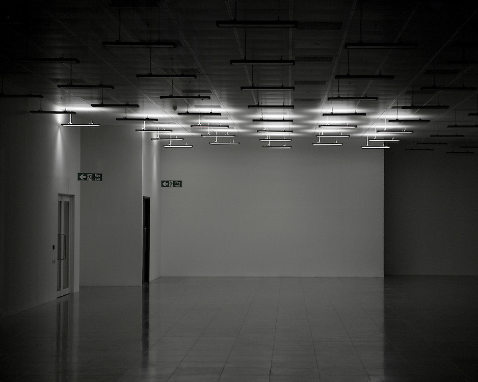 Empty office space at night