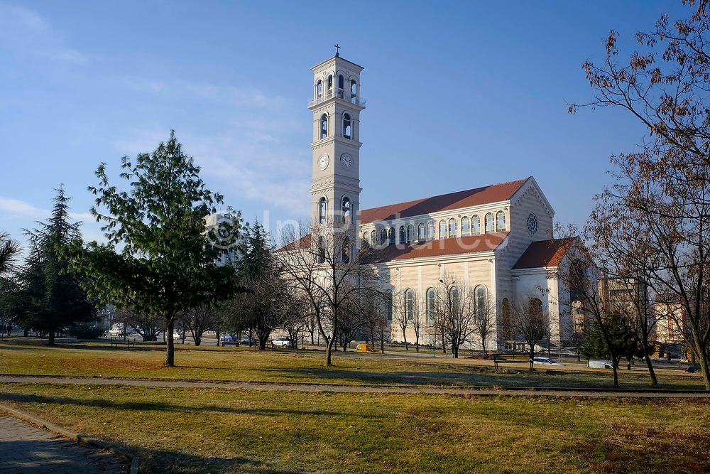 The newly constructed Cathedral of Saint Mother Teresa on the 13th of December 2018, Pristina, Kosovo. A Roman Catholic cathedral constructed in 2007, the cathedral is dedicated to the Albanian-Indian Roman Catholic nun and missionary, Saint Teresa of Calcutta.Pristina is the capital and largest city of Kosovo, it has a mainly Albanian population along with other smaller communities.