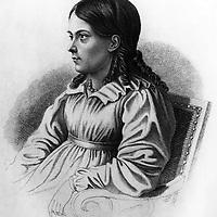 Bettina von Arnim (1785-1859) femme de lettres allemande, elle entretint une correspondance avec Goethe, gravure   ---   Bettina von Arnim (1785-1859) german woman of literature, engraving<br /> <br /> Copyright Rue Des Archives/Writer Pictures<br /> <br /> NO FRANCE, NO AGENCY SALES